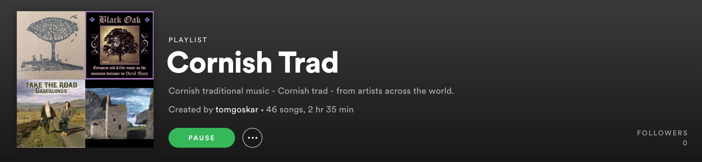 Screenshot of the Spotify playlist.