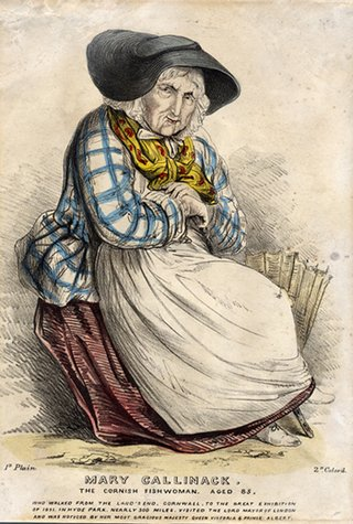 Ink drawing of Mary Kelynack, an elderly lady dressed in traditional Cornish fishing wear, blue checked blue, red and yellow scarf, white skirt, broad black hat, leaning against a basket known as a creel, for carrying fish.